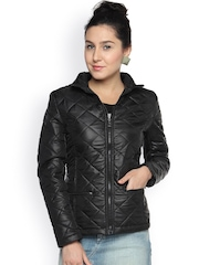 Campus Sutra Black Quilted Jacket