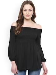 StyleStone Women Black Solid Off-Shoulder Top