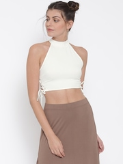 FOREVER 21 Women Off-White Solid Crop Top