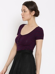 FOREVER 21 Women Purple & Navy Striped Top