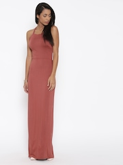 FOREVER 21 Women Brick Red Solid Maxi Dress