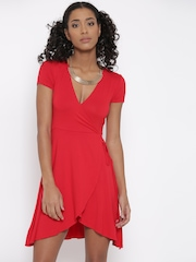 FOREVER 21 Women Red Solid Wrap Dress