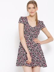 FOREVER 21 Women Black & Pink Printed Fit & Flare Dress