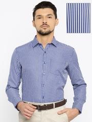 John Miller Men Navy & White Slim Fit Striped Formal Shirt