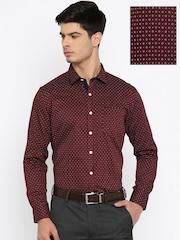 John Miller Men Maroon Slim Fit Printed Formal Shirt