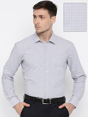 John Miller Men Grey & Red Tailored Fit Checked Formal Shirt