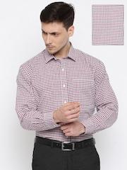 John Miller Men White & Red Tailored Fit Checked Formal Shirt