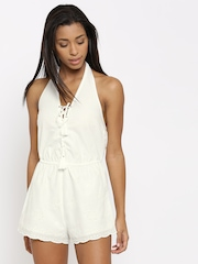 FOREVER 21 Off-White Schiffli Embroidered Playsuit
