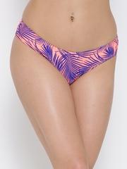 FOREVER 21 Peach-Coloured & Blue Printed Bikini Briefs 5577505