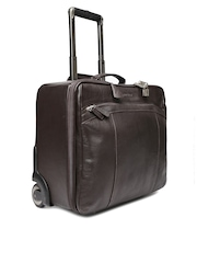 Hidesign Men Brown Handcrafted Leather Trolley Bag