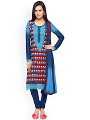 Touch Trends Blue & Red Printed Chanderi Cotton Unstitched Dress Material