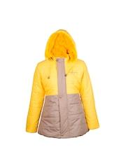 naughty ninos Girls Yellow & Beige Colourblocked Longline Puffer Jacket