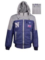 naughty ninos Boys Blue & Grey Hooded Reversible Colourblocked Bomber Jacket