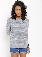 MANGO Women White & Navy Patterned Sweater