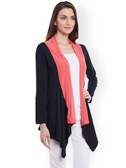 PURYS Coral Pink & Black Colourblocked Shrug