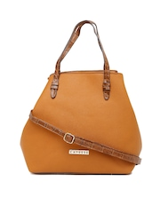 Caprese Tan Brown Structured Handbag