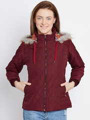 Fort Collins Maroon Quilted Jacket with Detachable Hood