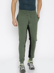 HRX by Hrithik Roshan Olive Green & Black Active Jogger Track Pants
