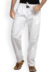 London Bee Men White Printed Lounge Pants
