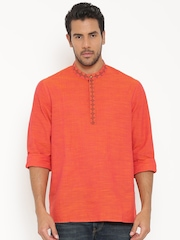 indus route by Pantaloons Men Orange Solid Straight Kurta