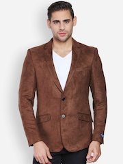 Peter England Brown Single-Breasted Blazer