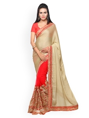 Touch Trends Red & Beige Raw Silk & Chiffon Embellished Saree