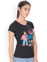 Simpsons Women Black Printed Round Neck T-Shirt