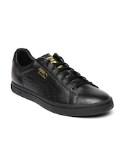 Puma Unisex Black Perforations Court Star Gold Sneakers