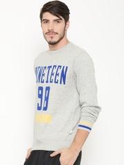 Ajile by Pantaloons Men Grey Melange Printed Sweater