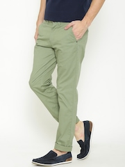 URBAN EAGLE by Pantaloons Men Olive Green Solid Flat-Front Trousers