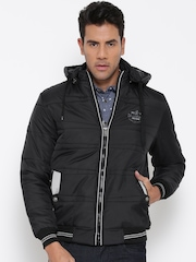Fort Collins Black Padded Bomber Jacket with Detachable Hood