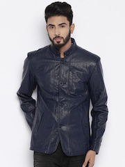 Fort Collins Navy Leather Jacket