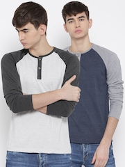 Fort Collins Men Pack of 2 Colourblocked Henley T-shirts