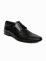 Louis Philippe Men Black Textured Genuine Leather Derby Shoes