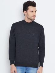 Monte Carlo Men Charcoal Grey Solid Woollen Sweater