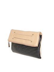 Addons Brown & Black Studded Foldable Clutch with Chain Strap