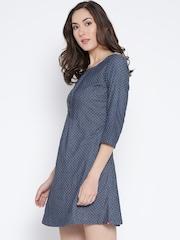 Biba Women Blue Self-Design Denim A-Line Dress