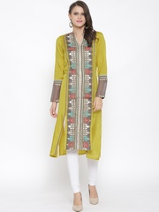 W Women Olive Green Printed Straight Kurta