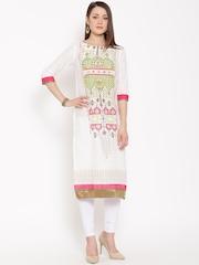 W Women White Printed Semi-Sheer Straight Kurta
