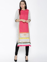 W Women Pink & White Printed Straight Kurta