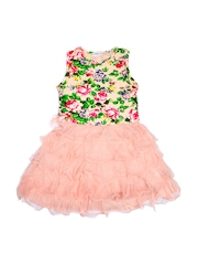 Lil Orchids Girls Peach-Coloured Floral Printed A-Line Dress
