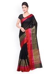 Inddus Black Cotton Traditional Saree