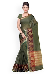 Inddus Green Cotton & Art Silk Traditional Saree