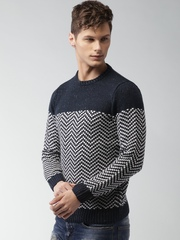 ALCOTT Men Navy Blue Sweater