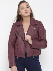 ONLY Wine-Coloured Faux Leather Biker Jacket