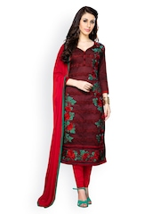 Blissta Maroon & Red Embroidered Cotton Unstitched Dress Material