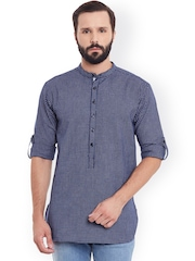 even Men Blue Woven Design Straight Kurta