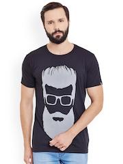 Incynk Men Black Printed Round Neck T-shirt