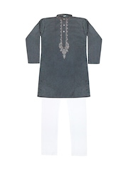 Jazzup Boys Grey & White Self-Striped Kurta Pyjama