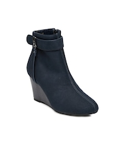 Allen Solly Women Navy Blue Solid Heeled Boots